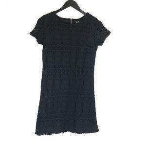 Lulu's Black Lace Overlay Shift Mini Party Dress